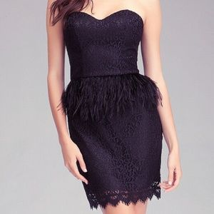 Bebe Black Lace & Feather Dress 6